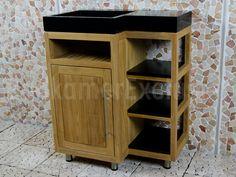 BadkamerExclusief.nl - Badmeubel Kerinci Cabinet Teakhout 75 cm, deur links, terrazzo