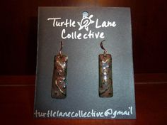 Red and Green Hammered Swirl Earrings by TurtleLaneCollective, $20.00