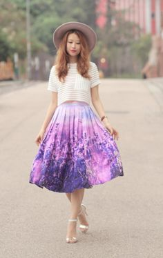 LAVENDER WONDER | Mellow Mayo Lavender Outfit, Lavender Dresses, Full Midi Skirt, Midi Skirts, Mode Inspiration, Fashion Inspiration, Summer Fashion Outfits, Fashion Fashion, Fashion Books