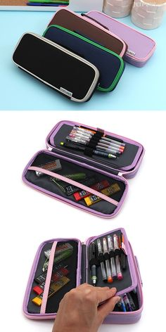 This functional pen case is great for carrying a variety of art and crafting supplies. The case lies flat when opened, providing easy access to its contents.