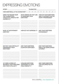 The Writer's Handbook • Creative Writing Worksheet – Expressing Emotions...