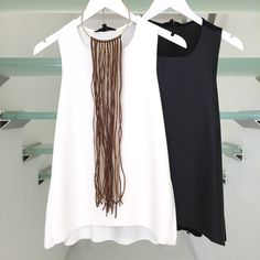 "Another Huge Trend Alert this Fall  Leather Front Tops in White and Black  The ""Giselle Leather Top"" 39 [S•M•L]  Best Fringe Necklace $24 [Available in Brown, Winter White and Black] Available online @ shopaliya.com FREE SHIPPING OVER $50  ADD SOMETHING FAB FROM OUR SALE SECTION TO SHIP FREE"