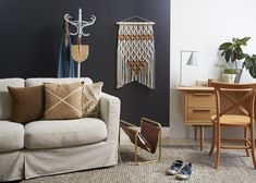Some paint colours are just made for flexibility. White is one of them, and black and charcoal are others. We took Resene Nocturnal, a black-charcoal, and teamed it with other Resene colours to show how it can be transformed for four seasonal looks. Charcoal Walls, Charcoal Paint, Resene Colours, Black Feature Wall, Round Marble Table, Retro Sideboard, Freedom Furniture, Curved Sofa, Desk Areas