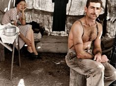 Unemployed Lumber Worker and His Wife, circa 1939 Colorized Historical Photos