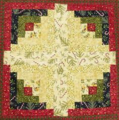 (7) Name: 'Quilting : Log Cabin table Runner