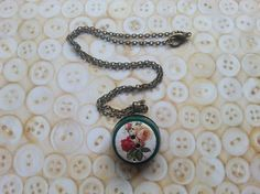 """Layered button floral wooden button necklace on a 18"""" chain £7.00"""