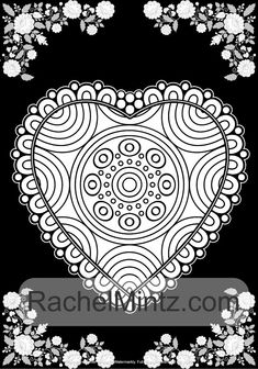 Heart Shaped Mandalas - 40 Valentines Day Love Patterns, Black Backgro – Rachel Mintz Coloring Books Mandala Pattern, Mandala Design, Shape Patterns, Color Patterns, Coloring Books, Coloring Pages, Heart Frame, Valentine Day Love, To Color