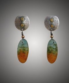 Drop Pod Earring by Carol Martin: Art Glass, Gold, and Silver Earrings available at www.artfulhome.com
