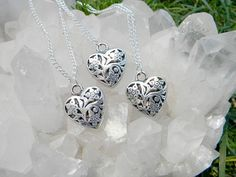 Essential Oil Pewter Heart Necklace by Krystalins on Etsy, $15.00