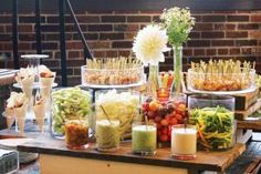 Crudite, dip, and shrimp display, on an antique cart, by L-Eat Catering in Toronto (10 Creative Stationary Hors D'Oeuvre Displays) #entertaining #foodstations #fooddisplays