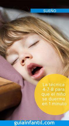 ¿Cuántas veces has intentado dormir sin éxito? ¿Y tu hijo? ¿Tiene algún problema para conciliar el sueño? ¡Pues esto se acabó! Existe una técnica increíblemente eficaz, que pueden utilizar tanto los papás y mamás con insomnio como los niños que se ponen muy nerviosos justo a la hora de dormir. La técnica se llama 4-7-8. ¿Quieres saber en qué consiste?  #sueñoinfantil #insonmio #dormir Peace Education, Kids Education, 4 Kids, Children, School Items, Baby List, Montessori Activities, Baby Hacks, Mom And Baby