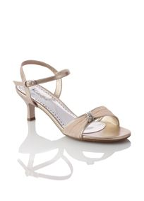 """This stylish metallic sandal has a glitter chiffon vamp gathered with a rhinestone keeper. A cute and comfortable 2 1/4"""" mid heel and an adjustable buckle strap allow you to show your look with confidence. Manmade sole and upper. Imported by Coloriffics."""