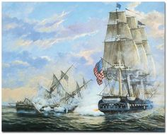 The USS Constitution de-masts the HMS Guierriere in combat ~~~~~~ August 1812 Tall Ships, Old Sailing Ships, Uss Constitution, Ship Of The Line, Ship Paintings, Ghost Ship, Naval History, Wooden Ship, Nautical Art