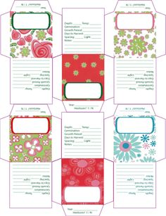A bunch of printable seed envelopes, packets