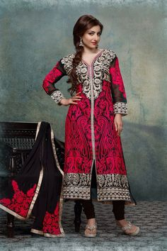Statuesque Black And Pink Straight-Suit Dress Material -35% #Discount #Eid #EidSpecial #StraightSuit #DressMaterial