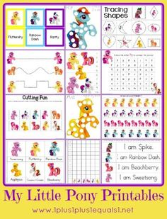 My Little Pony Printable Pack {free} from 1+1+1=1 Mainly Preschool level skills, some tot and Kindergarten also!: