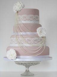 Vintage Pink Wedding cake M <3 pink weddings! no pearls for me...
