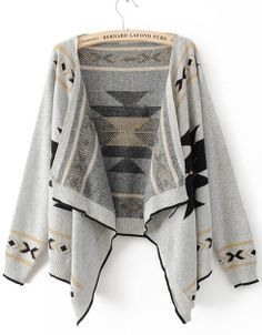 gray patterned cardigan.