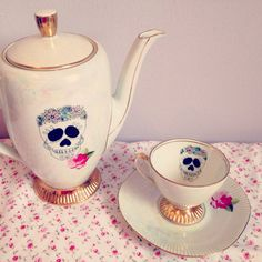 Sugar Skull Rose Teacup & Saucer. by LilyPieVintagex on Etsy, £10.00