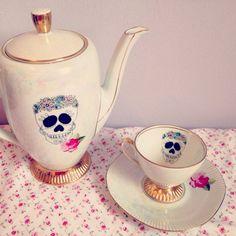 Sugar Skull Rose Teacup & Saucer.