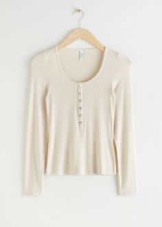 Ribbed Heart Button Top - Beige - Tops - & Other Stories Loose Fitting Tank Tops, Trouser Outfits, Heart Button, Beige Top, Ribbed Top, Sweater Set, Small Heart, Fashion Story, Cute Tops