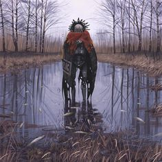 THE VAGABONDS  Meet the Vagabonds - refugees from the 1994 robot pogrom in Russia. Quite obsessive about anything organic and expressive - feathers, fur, cloth and bright colors: exotic concepts for beings with hearts made of metal, plastic and epitaxial graphene.   From simonstalenhag.se