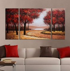 """ARTLAND Modern 100% Hand Painted Landscape Oil Painting on Canvas """"Red Tree"""" 3-Piece Gallery-Wrapped Framed Wall Art Ready to Hang for Living Room for Wall Decor Home Decoration 24x48inches"""