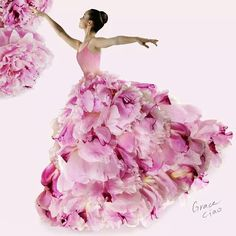 Strapped light pink floral ball gown (petals)