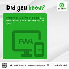 Progressive Web Apps provide an installable, app-like experience on desktop and mobile that are built and delivered directly via the web. You no need to install the app. They're web apps that are fast and reliable. And most importantly, that work in any browser. If you're building a web application today, you're already on the path towards building a Progressive Web App.  #elysiumpro #finalyearprojects #finalyearstudents #projectcenter #didyouknow #progressivewebapp #webapplication Progressive Web Apps, Web Application, Did You Know, Knowing You, Desktop, Student, Feelings, Building, Buildings