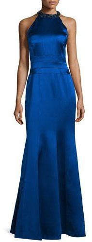 Kay Unger New York Embellished Halter-Neck Mermaid Gown, Sapphire