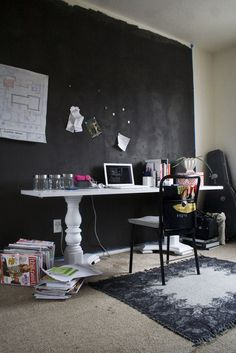 Cool idea for a desk with the banister railings underneath... Not entirely my style but it gives me good ideas...