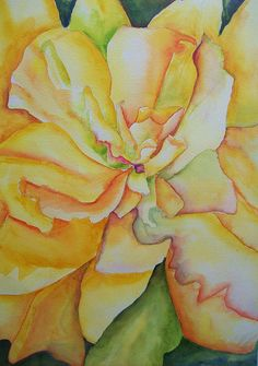 """Yellow Hibiscus"" Watercolor ? Georgia O'Keefe style by Sandy Collier"