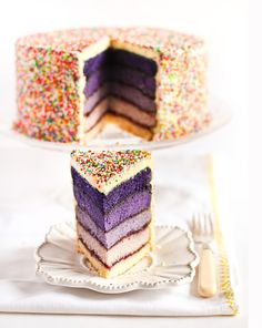 purple ombre cake http://trendybride.net/wedding-cakes-spring-into-sprinkles/ #weddingcakes #trendybride