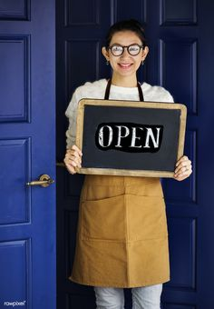 A cheerful small business owner with open sign by Rawpixel. A cheerful small business owner with open sign Restaurant Service, Restaurant Owner, Open Signs, Female Girl, Business Signs, Photoshop Photography, Shop Signs, Asian Woman, Business Women