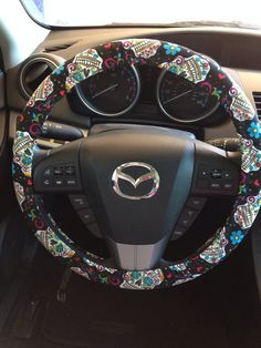 Sugar Skull Dia de los Muertos Steering Wheel Cover