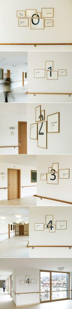Signalétique par Aline Dallo, Julia Kind, Kathrin UrbanetTina Stäheli Voici une très belle réalisation de signalétique pour une maison de retraite à Zuri