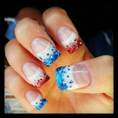 Glitter-Tips | July 4th Nails