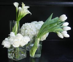 White and green -- Calla Lily, Tulip, Hydrangea and Rose centerpieces
