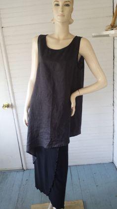 MOYURU Sculptural Lagenlook Art to Wear Black Linen Layering Dress Tunic Japan M #Moyuru #Tunic #Versatile