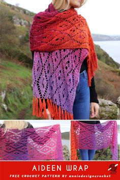 Spectacular beautiful crochet wrap is elegant and cozy. The precise written pattern helps to make this fabulous project. Choose your favorite colors and then in the spring, we can set out on our great One Skein Crochet, Crochet Wrap Pattern, Crochet Poncho, Crochet Scarves, Crochet Clothes, Crochet Patterns, Poncho Patterns, Crochet Vests, Crochet Shirt