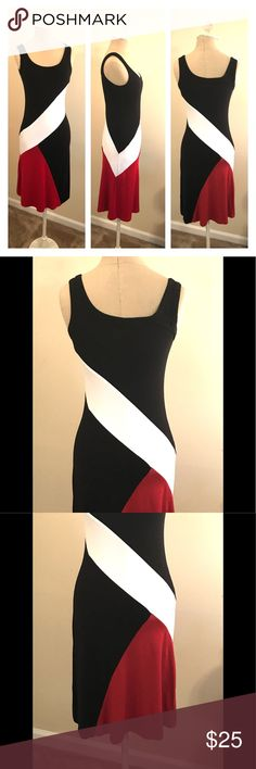 "Karen Kane color block tank dress XS Black, red, and white stretchy tank dress by Karen Kane size extra small. Great condition! Underarm to underarm 14"", shoulder to hem 37"". Karen Kane Dresses"