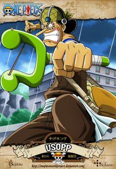 """One Piece - Usopp nació en Villa Syrup, en el East Blue. Actualmente forma parte de los Piratas del Sombrero de Paja, ocupando el puesto de """"Tirador (y Francotirador)""""; aunque al principio de la Saga se le describiera (cómicamente) como el """"Mentiroso"""" del grupo... Es el cuarto miembro de la tripulación, el tercero en unirse oficialmente, y también el tercero en hacer acto de presencia al final de la Saga de Enies Lobby. Su alter ego es conocido como """"Sogeking""""."""