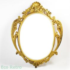 Beautiful Vintage Rococo Style Ornate Gold Gilt Metal Framed Oval Mirror