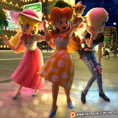 The 3 Little Princesses (Fanart) by Hanxulz on DeviantArt New Super Mario Bros, Super Mario Art, Super Mario Brothers, Super Smash Bros, Super Mario Princess, Nintendo Princess, Little Princess, Princesa Daisy, Princesa Peach