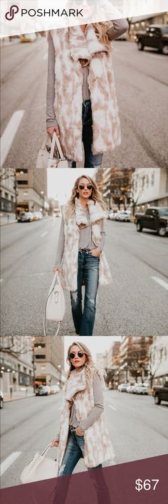 Faux fur pocketed vest Luxe ivory and taupe faux fur vest fully lined is super soft and a great trendy chic transitional addition to your closet. All eyes will be on you when you wear this piece!!  Jackets & Coats Vests