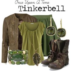 Tinkerbell so cute I want that outfit Fandom Fashion, Geek Fashion, Tinkerbell Outfit, Tinkerbell Disney, Cool Outfits, Casual Outfits, Disney Bound Outfits Casual, Disney Inspired Fashion, Disney Fashion