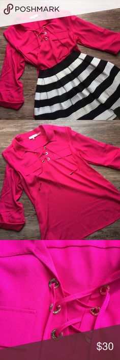 Calvin Klein Pink Lace-up Shirt Only worn once! Hot Pink Satin-y shirt. Gold detailing, faux pockets. Size L. Skirt in cover photo is also available for sale in my closet. Bundle & save! Calvin Klein Tops