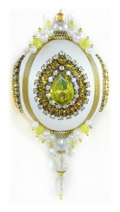 Dazzling Christmas Ornament  Yellow/Crystal/Pearl by sparklements