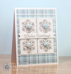 handmade card: WinterGreetings by . like the cool colors and how the stamping reflects the colors of the base layer plaid . silver snowflakes with pale blue buttons . Christmas Cards 2017, Diy Holiday Cards, Homemade Christmas Cards, Noel Christmas, Christmas Greeting Cards, Homemade Cards, Christmas Greetings, Snowflake Cards, Simple Snowflake