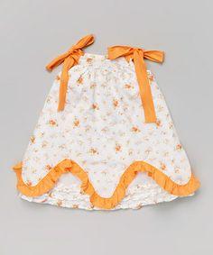 Love this White & Orange Floral Ruffle Jumper - Infant & Toddler on #zulily! #zulilyfinds